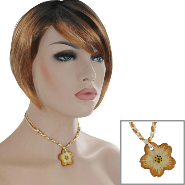 "Yellow White Collar Choker Ceramic Flower Necklace Pendant 15"" Festival Wear Jewelry"
