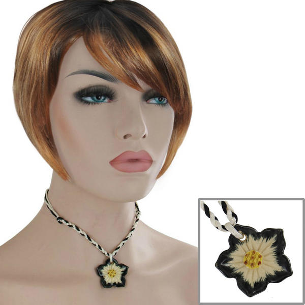 Black White Flower Collar Choker Ceramic Pendant Necklace 15""