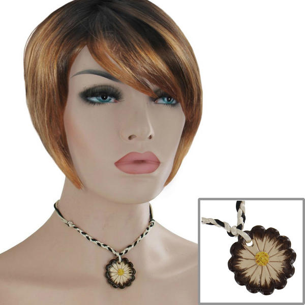 Flower Choker Necklace Black White Brown Ceramic Pendant 15""