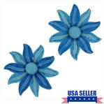 Vintage Pair Blue Flower Shoe Clip Set Of 2