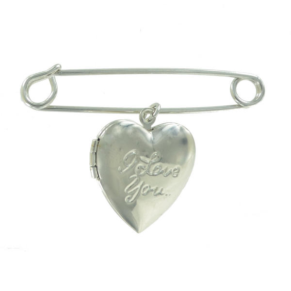 Ky & Co Safety Pin Brooch Heart Locket Dangle Charm Silver Tone USA Made 2""