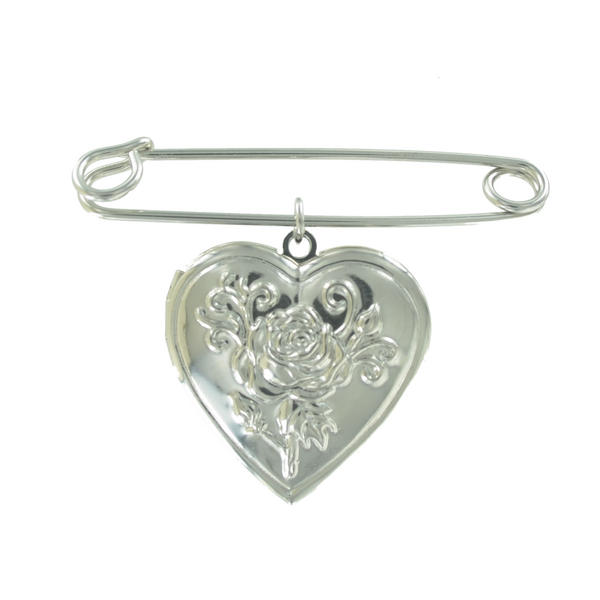 Ky & Co Safety Pin Brooch Rose Heart Photo Locket Charm Silver Tone USA Made 2""