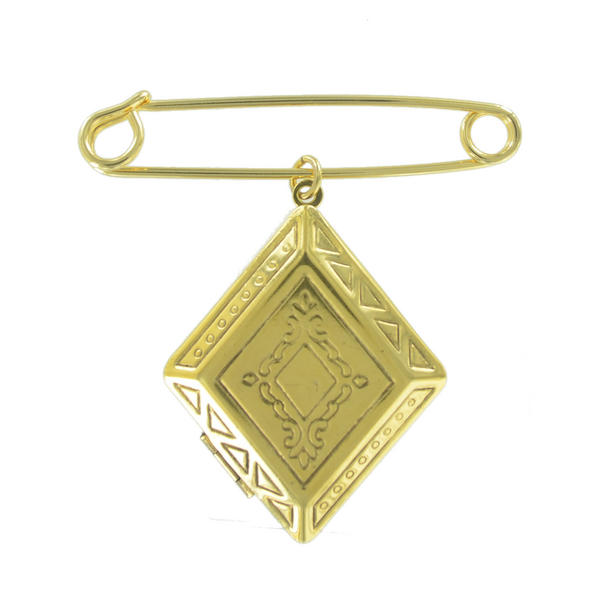 Ky & Co Safety Pin Diamond Geometric Antiqued Photo Locket Dangle Charm Gold Tone USA Made 2""