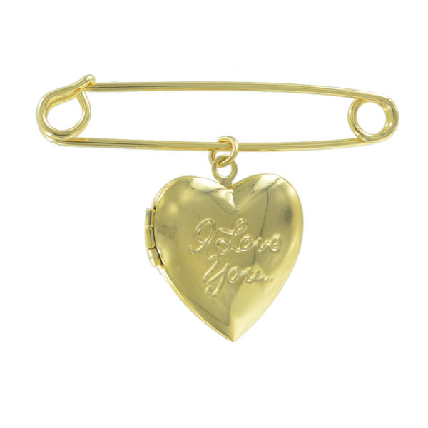 Ky & Co Safety Pin Brooch Heart Locket I Love You Dangle Charm Gold Tone USA Made 2""