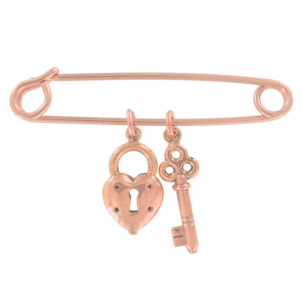 Ky & Co Safety Pin Brooch Heart Key Charm Rose Gold Tone USA Made 2""
