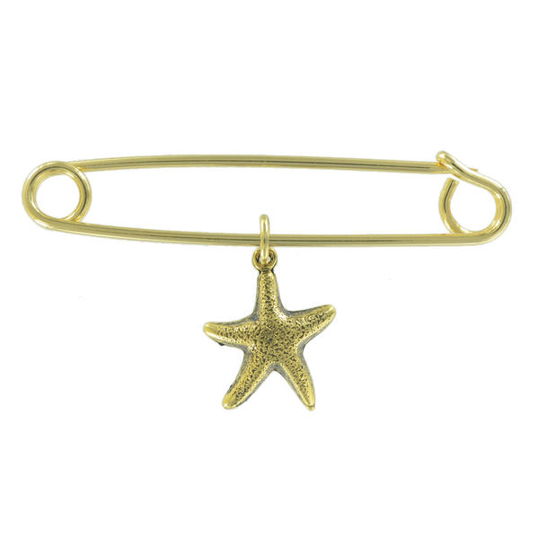 Ky & Co Safety Pin Brooch Small Starfish Charm Gold Tone USA Made 2""