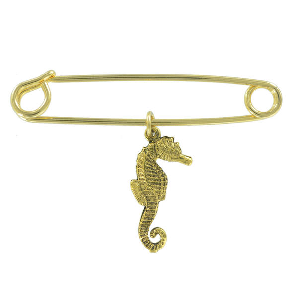 Ky & Co Safety Pin Brooch Seahorse Charm Gold Tone USA Made 2""