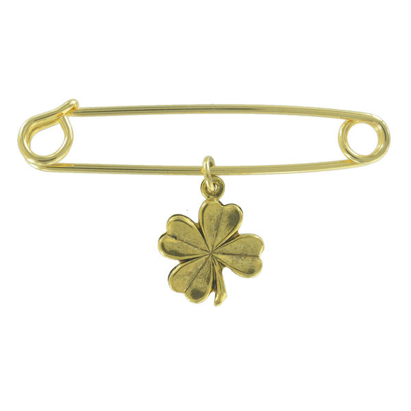 Ky & Co Safety Pin Brooch Four Leaf Clover Good Luck Charm Gold Tone USA Made 2""