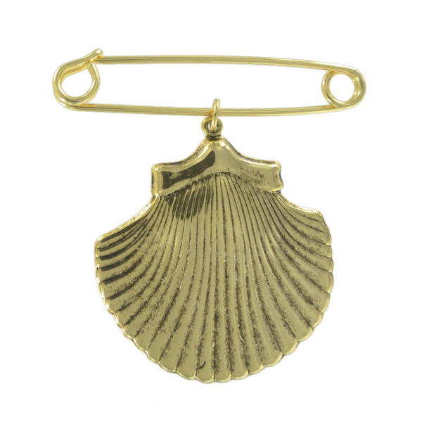 Ky & Co Safety Pin Brooch Large Cockle Sea Shell Nautical Charm Gold Tone USA Made 2 1/2""