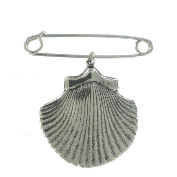 Ky & Co Safety Pin Brooch Cockle Sea Shell Charm Silver Tone USA Made 2 1/2""