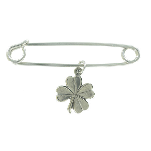 Ky & Co Safety Pin Brooch Four Leaf Clover Good Luck Charm Silver Tone USA Made 2""