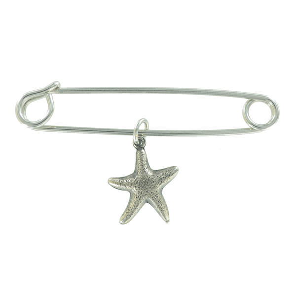 Ky & Co Safety Pin Brooch Small Starfish Charm Silver Tone USA Made 2""