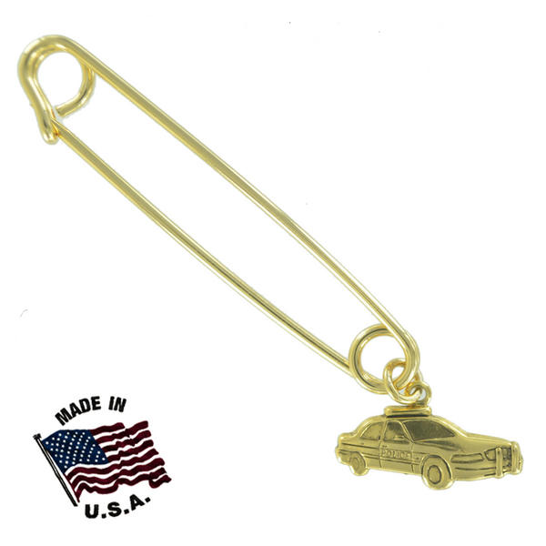 Ky & Co Safety Pin Brooch Police Car Dangle End Charm Gold Tone USA Made 2""