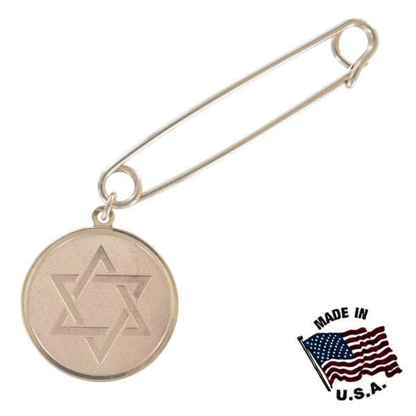 Ky & Co Safety Pin Brooch Hebrew Star Of David Dangle End Charm Rose Gold Tone USA Made 2""