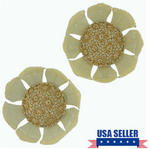Vintage Beige Flower Shoe Clips Pair Set