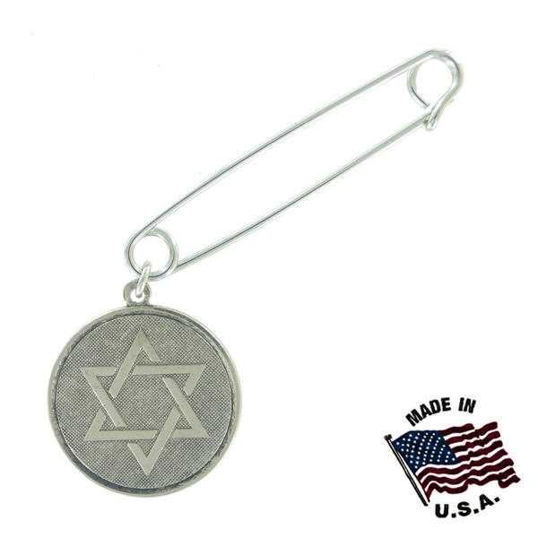 Ky & Co Safety Pin Brooch Hebrew Star Of David Dangle End Charm Silver Tone USA Made 2""