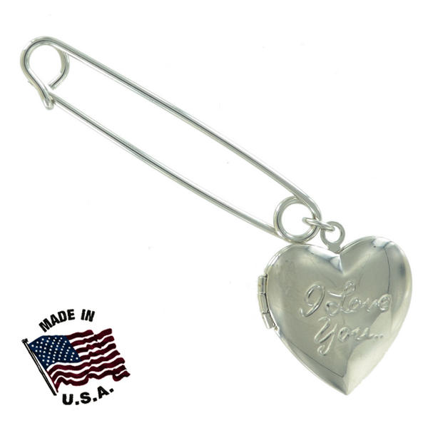 Ky & Co Safety Pin Brooch Heart Locket Dangle End Charm Silver Tone USA Made 2""