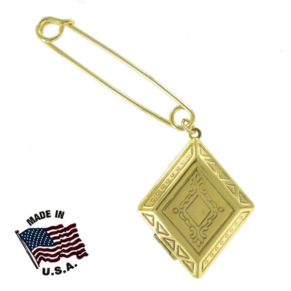 Ky & Co Safety Pin Diamond Geometric Antiqued Photo Locket Dangle End Charm Gold Tone USA Made 2""