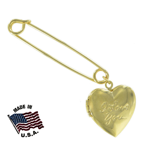 Ky & Co Safety Pin Brooch Heart Locket I Love You Dangle End Charm Gold Tone USA Made 2""
