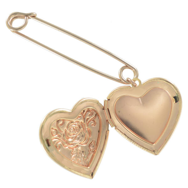 Ky & Co Safety Pin Brooch Flower Heart Photo Locket Dangle End Charm Rose Gold Tone USA Made 2""