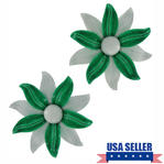 Vintage Shoe Clips Flower White Green Set