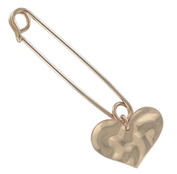 Ky & Co Safety Pin Brooch Dented Heart End Charm Rose Gold Tone USA Made 2""