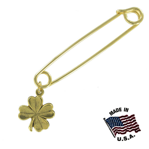 Ky & Co Safety Pin Brooch Four Leaf Clover Good Luck End Charm Gold Tone USA Made 2""