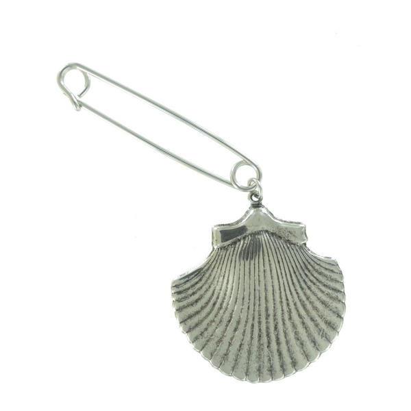 Ky & Co Safety Pin Brooch Cockle Sea Shell End Charm Silver Tone USA Made 2""