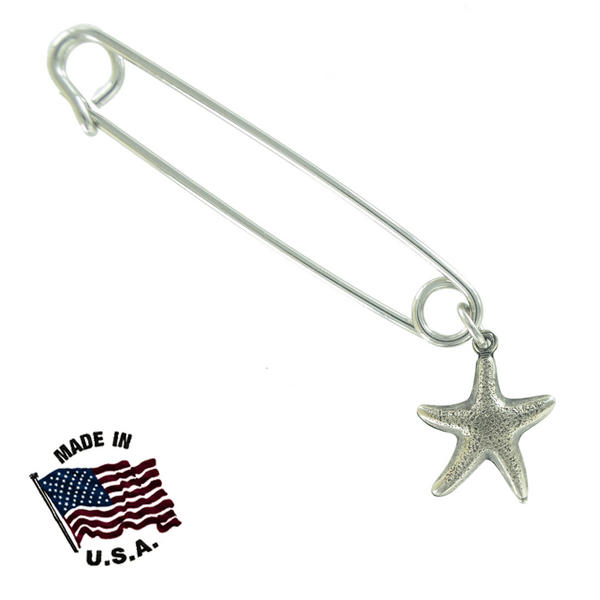 Ky & Co Safety Pin Brooch Small Starfish End Charm Silver Tone USA Made 2""