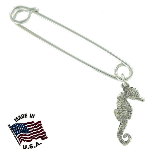 Ky & Co Safety Pin Brooch Seahorse End Charm Silver Tone USA Made 2""