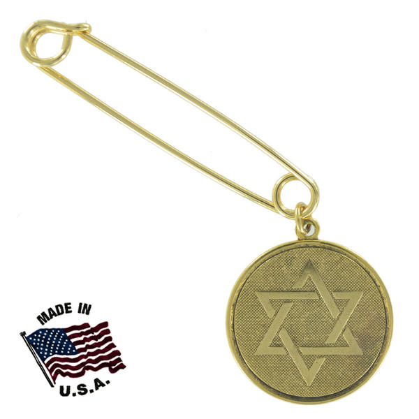 Ky & Co Safety Pin Brooch Hebrew Star Of David Coin Dangle End Charm Gold Tone USA Made 2""