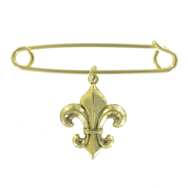 Ky & Co Safety Pin Brooch Fleur de Lis Charm Gold Tone USA Made 2""