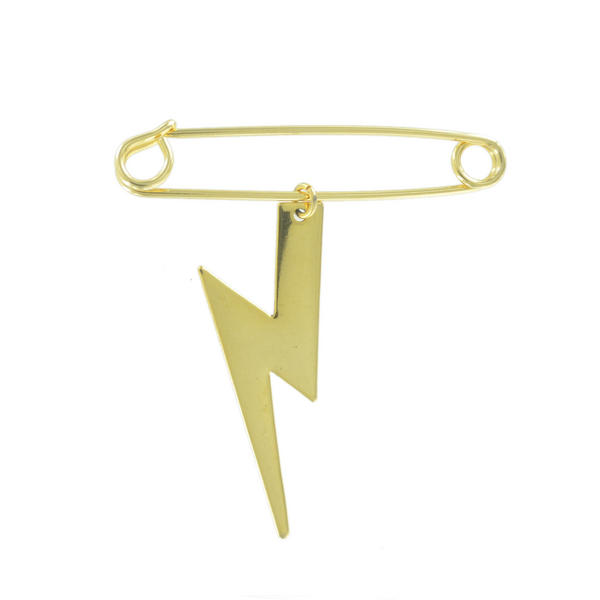 Ky & Co Safety Pin Brooch Lightning Bolt Charm Gold Tone USA Made 2""