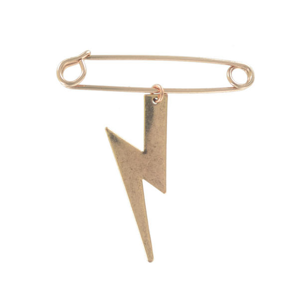 Ky & Co Safety Pin Brooch Lightning Bolt Charm Rose Gold Tone USA Made 2""