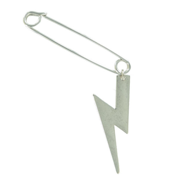 Ky & Co Safety Pin Brooch Lightning Bolt End Charm Silver Tone USA Made 2""