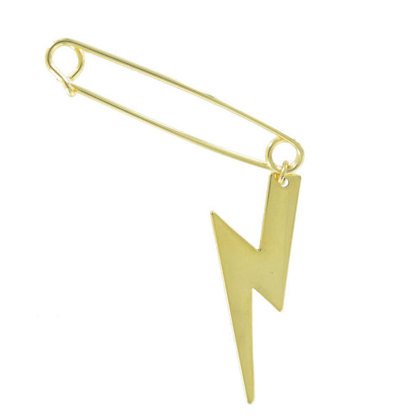 Ky & Co Safety Pin Brooch Lightning Bolt End Charm Gold Tone USA Made 2""