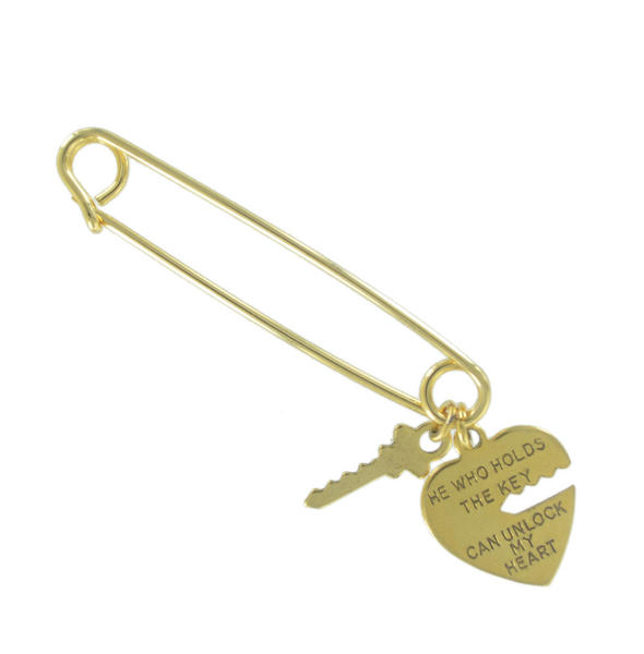 Ky & Co Safety Pin Brooch Heart and Key End Charms Gold Tone USA Made 2""