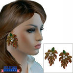 Vintage 1980s Papier Mache Autumn Fall Leaves Leaf Earrings Faux Pearl