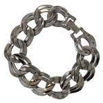 USA Made Dark Silver Chunky Double Link Chain Bracelet