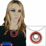 Choker Necklace Neon Red Black Mod Circular Pendant Silver Tone Wire