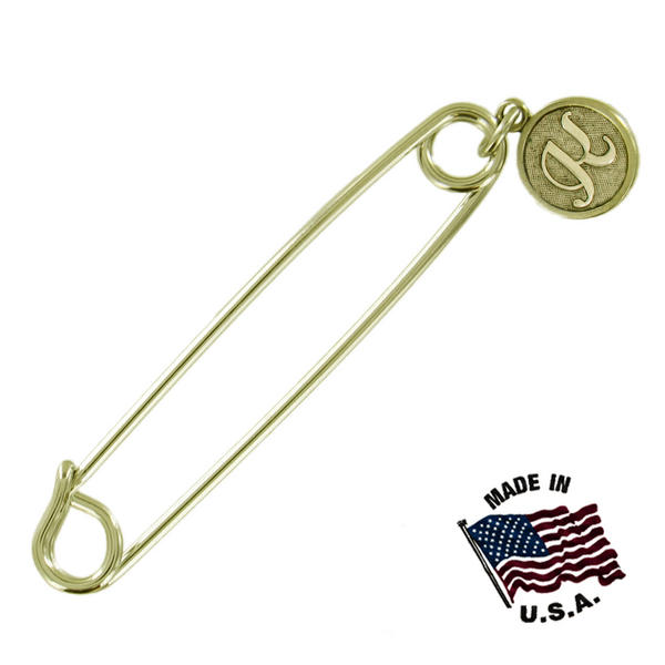 Ky & Co Safety Pin Brooch Gold Tone Cursive Initial Letter K Charm USA Made 2""
