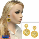 Bijoux New York Designs Clip On Dangle Gold Tone X Earrings 2 1/2""