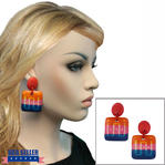 Multicolor Wooden Dangle Earrings Tribal Design Orange Pink Blue Red 2 5/8""