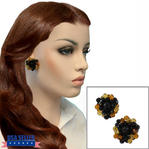 Vintage Black Amber Beaded Button Clip On Cluster Earrings 1""