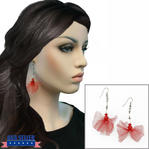 Red Tulle Beaded Silver Tone Dangle Drop Earrings