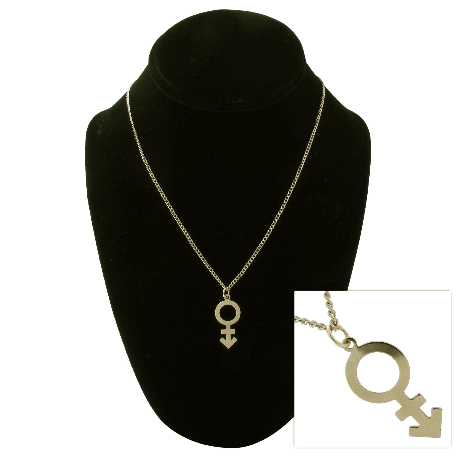 USA Made Gold Tone LGBT LGBTQ Transgender Symbol  Pendant Necklace Thumbnail 1