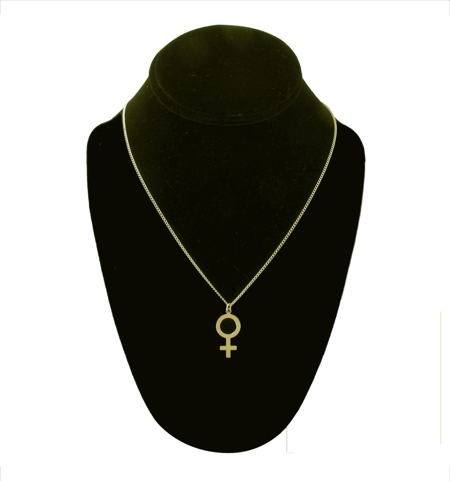USA Made Gold Tone Feminist Female Gender Symbol Pendant Necklace