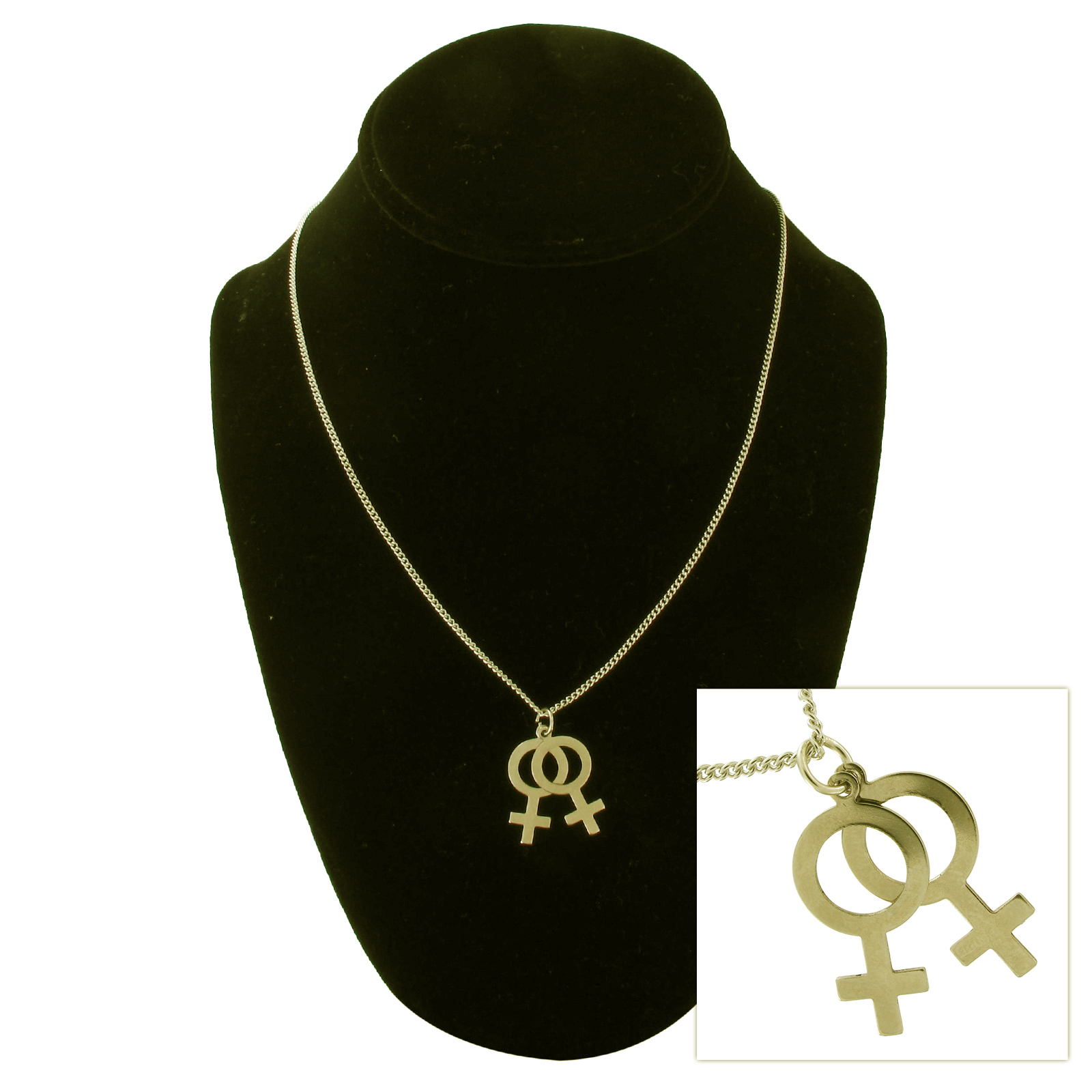 USA Made Gold Tone Lesbian Symbol Pendant Couple Necklace Thumbnail 1