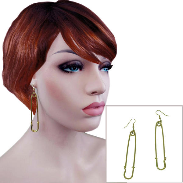 Ky & Co Gold Tone Safety Pin Earrings You Are Safe Statement Trend Made in USA