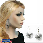 Black Tulle Beaded Silver Tone Dangle Drop Earrings